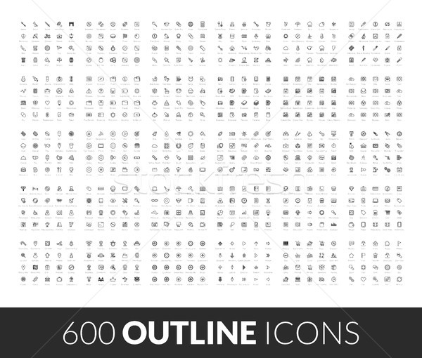 Large icons set, 600 outline black vector pictogram Stock photo © sidmay