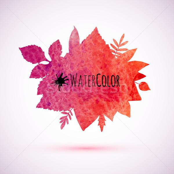 Stok fotoğraf: Kırmızı · suluboya · boyalı · sonbahar · yaprakları · afiş · ağaç