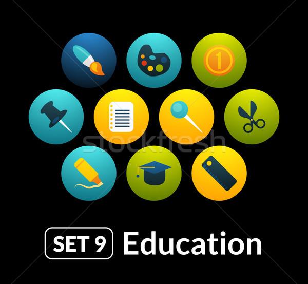Iconen vector ingesteld onderwijs collectie telefoon Stockfoto © sidmay
