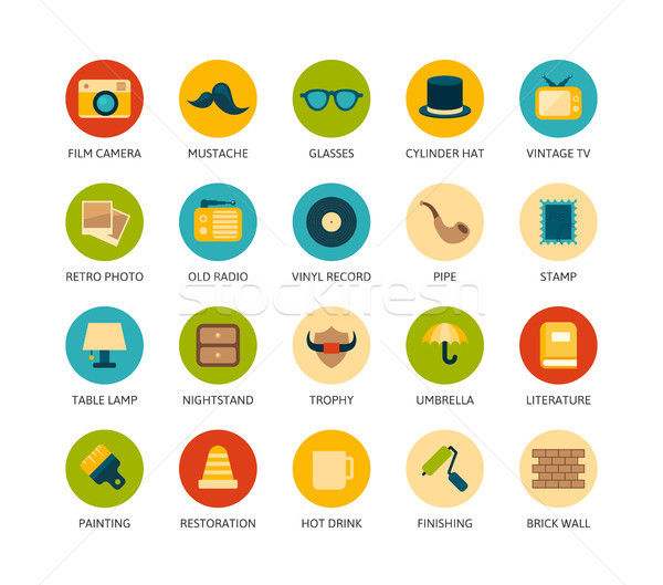 Round icons thin flat design, modern line stroke style Stock photo © sidmay