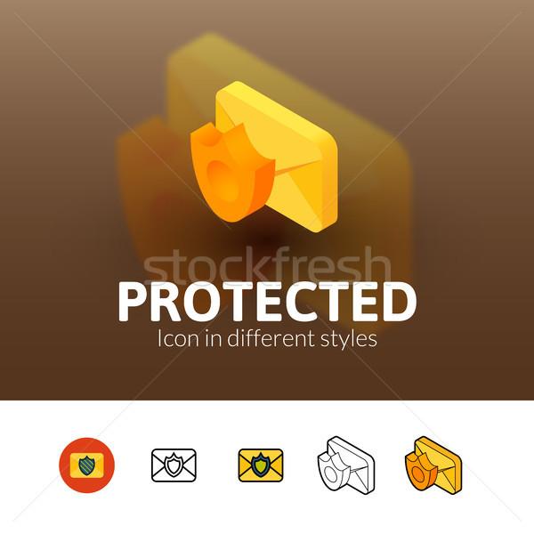 Védett ikon különböző stílus szín vektor Stock fotó © sidmay