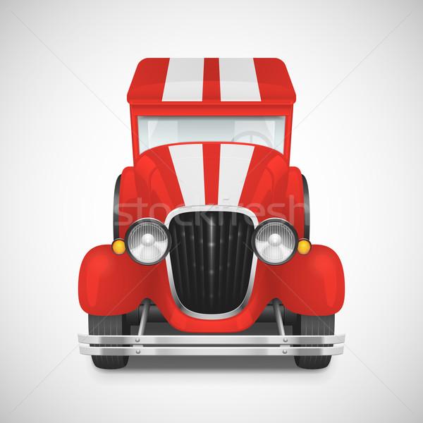 ретро автомобилей икона красный пожарная машина дороги Сток-фото © sidmay