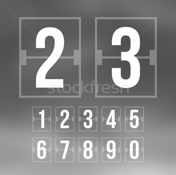 Outline countdown timer, white color flat mechanical scoreboard Stock photo © sidmay