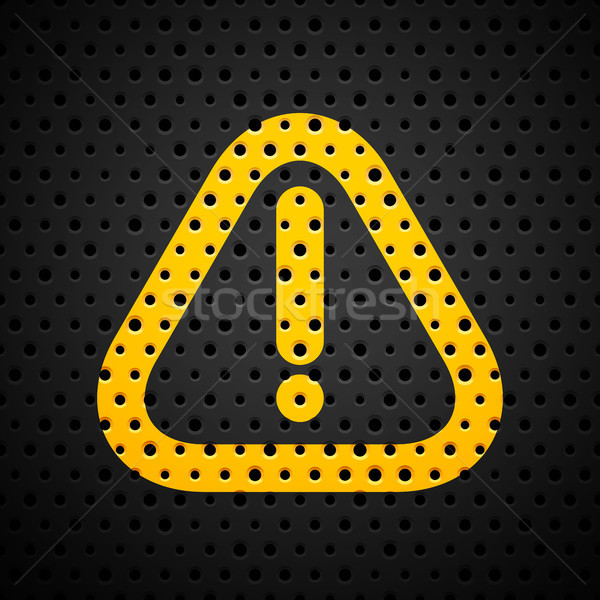 Attention yellow sign on black metal texture with holes Stock photo © sidmay