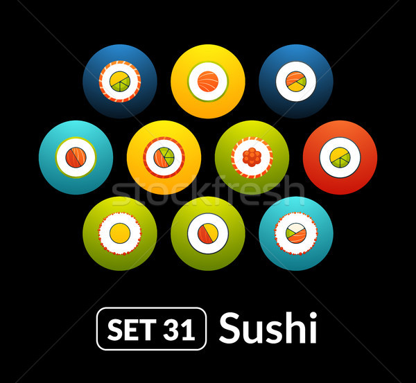 Flat icons vector set 31 - sushi collection Stock photo © sidmay