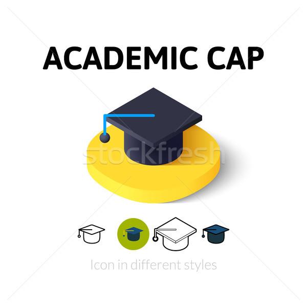 Akademicki cap ikona inny stylu wektora Zdjęcia stock © sidmay