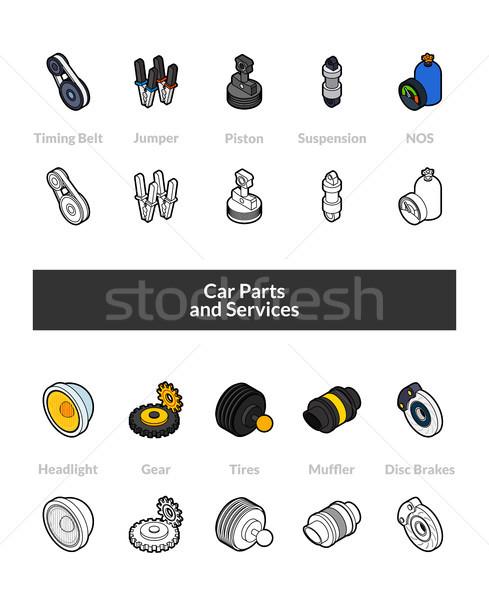 набор изометрический иконки стиль черный Сток-фото © sidmay