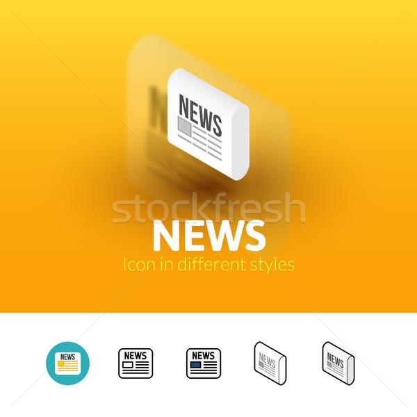 Новости икона различный стиль цвета вектора Сток-фото © sidmay