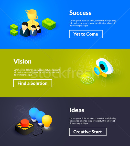 Success vision and ideas banners of isometric color design Stock photo © sidmay