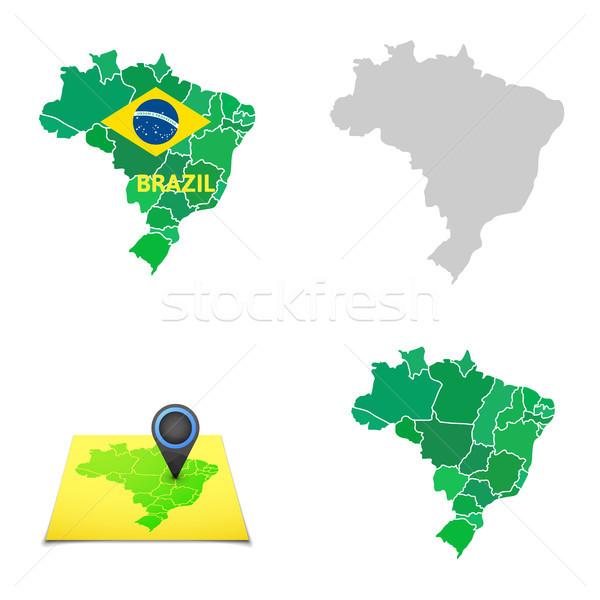 単純な ブラジル 地図 市 サッカー スポーツ ストックフォト © sidmay