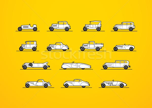 Retro diferente silueta forma coches Foto stock © sidmay