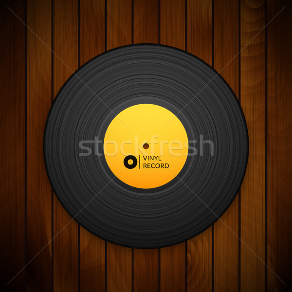 Black vintage vinyl record isolated on red wood texture background Stock photo © sidmay