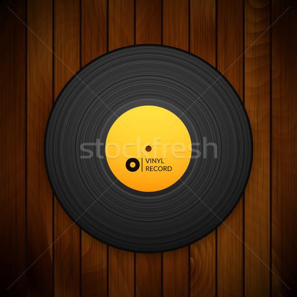 Zwarte vintage vinyl record geïsoleerd Rood Stockfoto © sidmay