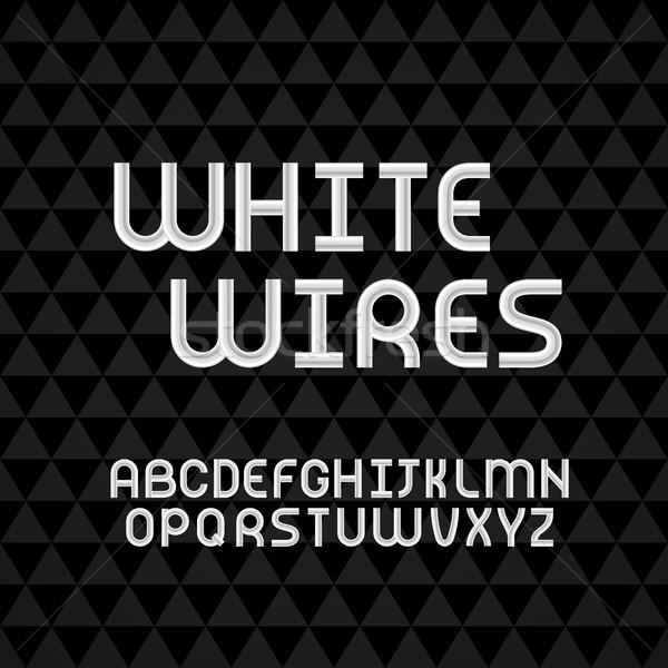 Hullámos kábel fehér körvonal ábécé izolált Stock fotó © sidmay