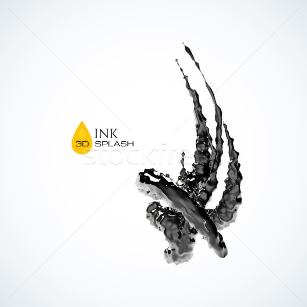 Black 3D ink or oil splash isolated on white Stock photo © sidmay
