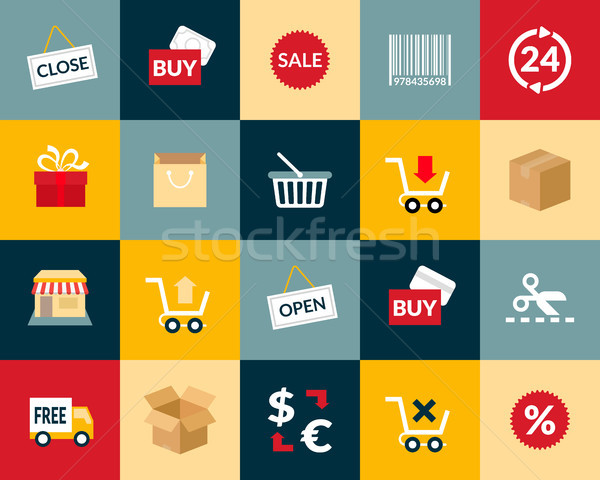 Flat icons set 20 Stock photo © sidmay