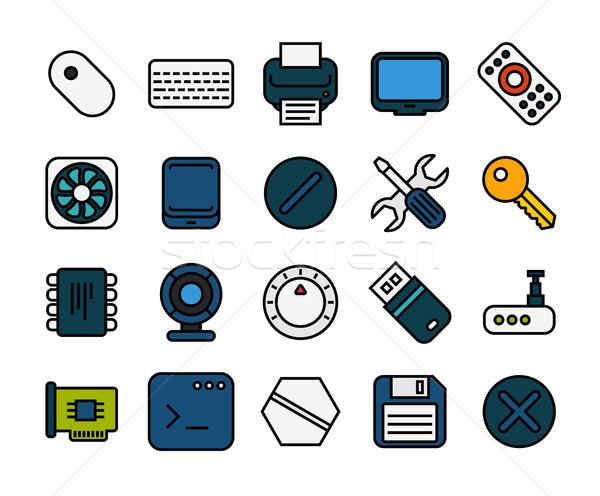 Foto stock: ícones · fino · projeto · moderno · linha