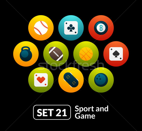 Flat icons set 21 - sport and game collection Stock photo © sidmay