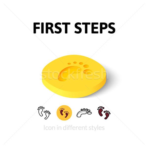 первый шаги икона различный стиль вектора Сток-фото © sidmay