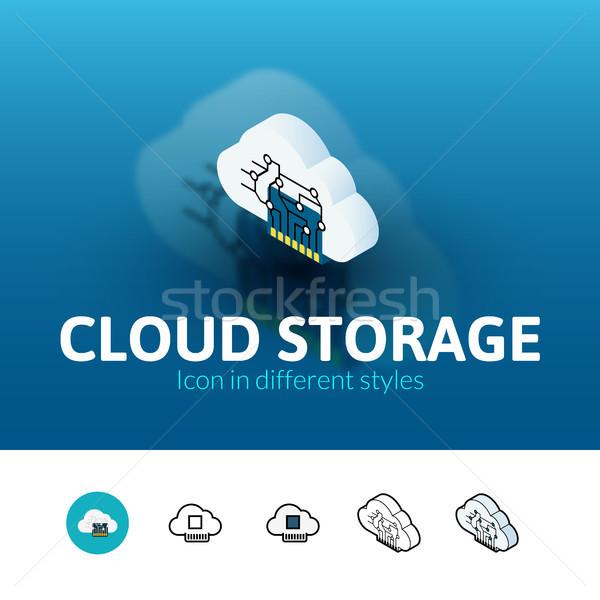 Bulut depolama ikon farklı stil renk Stok fotoğraf © sidmay