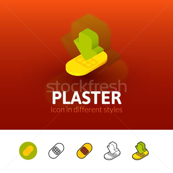 Tapasz ikon különböző stílus szín vektor Stock fotó © sidmay