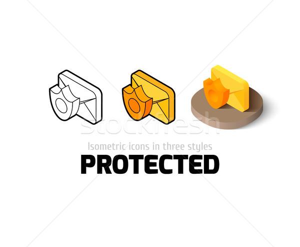 Védett ikon különböző stílus vektor szimbólum Stock fotó © sidmay