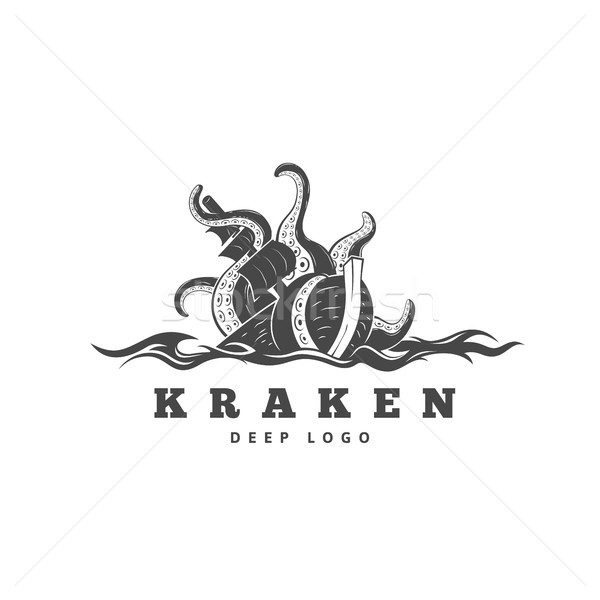 Giant evil kraken logo, silhouette octopus sea monster with tentacles Stock photo © sidmay