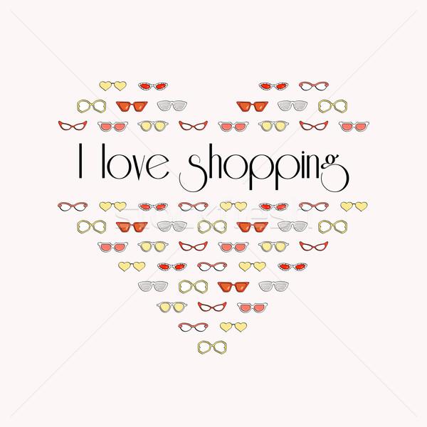 Szív elegáns divat napszemüveg szeretet vásárlás Stock fotó © sidmay