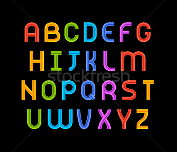 Wired wavy cable, colorful contour alphabet Stock photo © sidmay