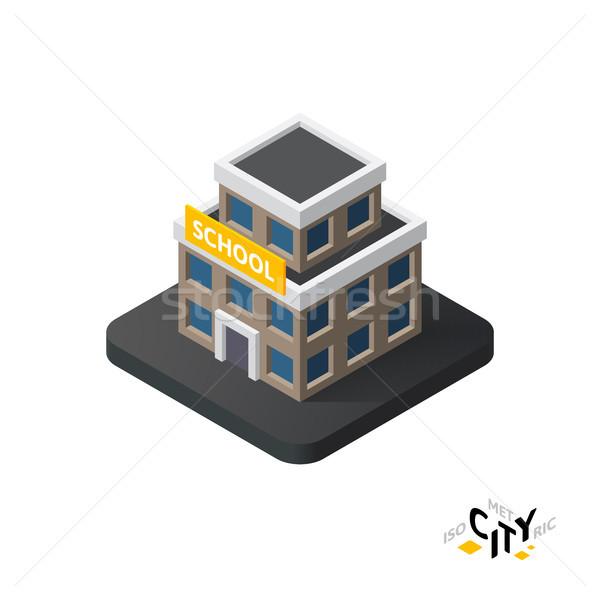 Isometrica scuola icona costruzione città infografica Foto d'archivio © sidmay