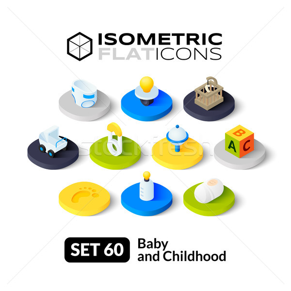 Isometric flat icons set 60 Stock photo © sidmay