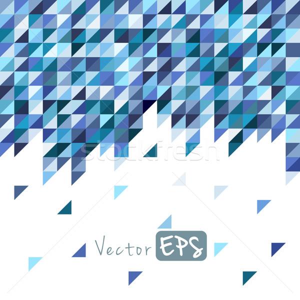Stock fotó: Mértani · mozaik · minta · kék · háromszög · textúra