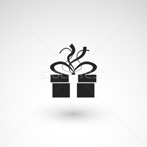Gift box icon with ribbon, wrapping pattern design Stock photo © sidmay