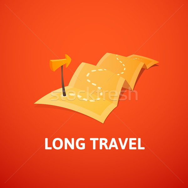 Stock photo: World tour concept logo, long route in travel map with guide marker