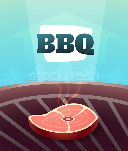 Barbecue BBQ Party invitation card, illustration poster background in cartoon style Stock photo © sidmay