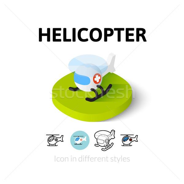 вертолета икона различный стиль вектора символ Сток-фото © sidmay