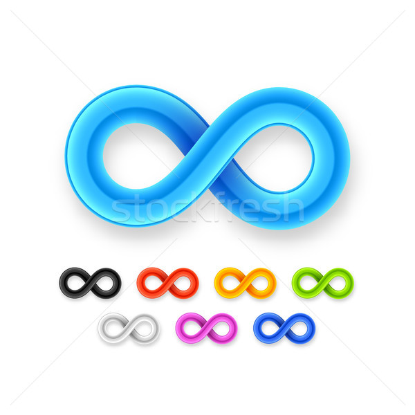 Colorful infinity symbol set icon from glossy wire with shadow Stock photo © sidmay