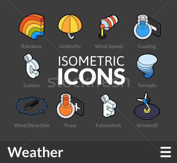 Isometric outline icons set 24 Stock photo © sidmay