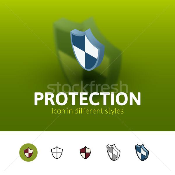 защиту икона различный стиль цвета вектора Сток-фото © sidmay