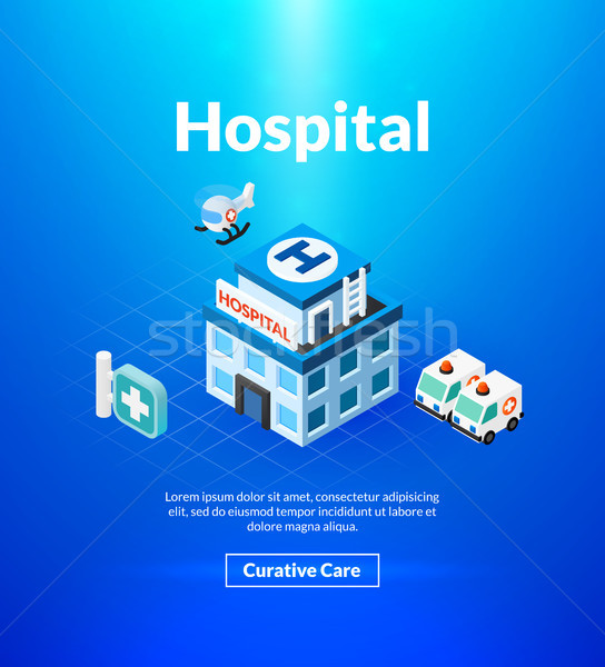 Hospital poster of isometric color design Stock photo © sidmay