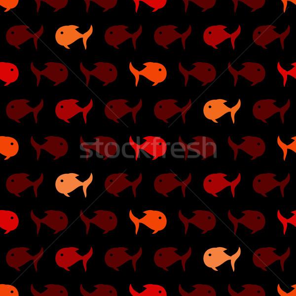 Senza soluzione di continuità abstract pattern rosso pesce vettore Foto d'archivio © sidmay