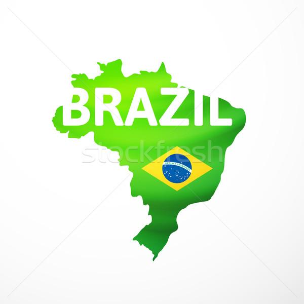 Stock photo: Vector flag maps of Brazil