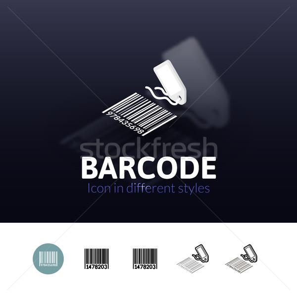 Foto stock: Código · de · barras · icono · diferente · estilo · color · vector