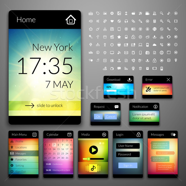Mobile interface elements with colorful wallpaper and icon set, design for applications Stock photo © sidmay