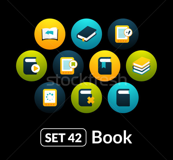 Flat icons vector set 42 - book collection Stock photo © sidmay