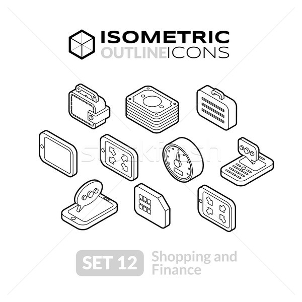 Isometric outline icons set 12 Stock photo © sidmay