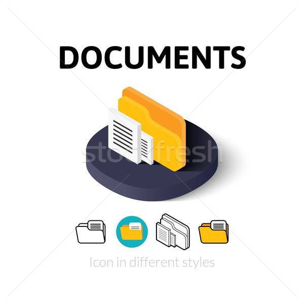 Documenten icon verschillend stijl vector symbool Stockfoto © sidmay