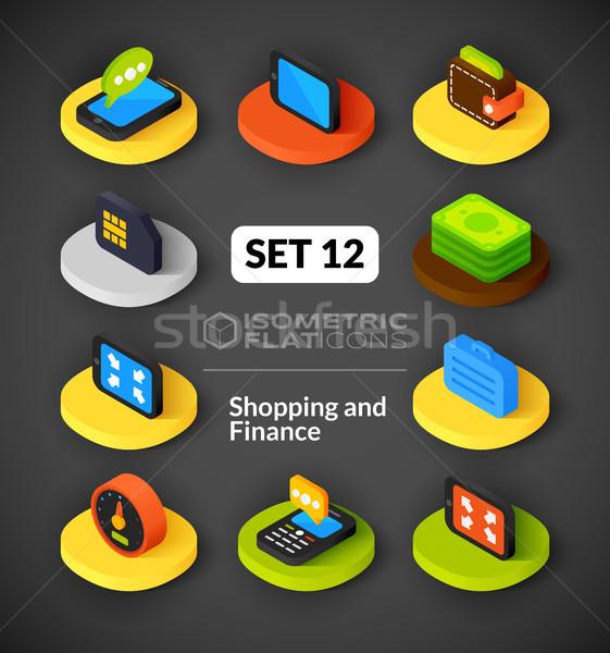 Izometrikus ikon szett 12 ikonok 3D piktogramok Stock fotó © sidmay