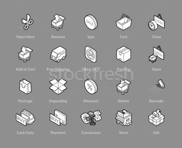 Izometrikus skicc ikon szett ikonok 3D piktogramok Stock fotó © sidmay
