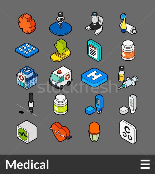 Izometrikus skicc szín ikon szett ikonok 3D Stock fotó © sidmay